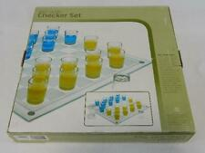Crystal Clear and Frosted Shot Glass Checkers Set - Bar Game - Blgcs501