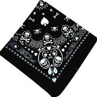 Bandana Hiphop gothique de crâne noir / bande de cheveux écharpe cou-poigne X9S2
