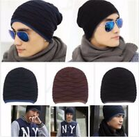 Unisex Knit Knitted Beanie Hat Me Women Winter Solid Striped Elastic Hip-Hop Cap