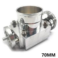 "70mm 2.75"" Throttle Body Universal Alloy Aluminum Racing CNC Billet Intake Silve"