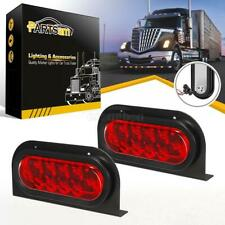 "2x6"" Oval S/T/T Red 10LED Truck Trailer Brake Lights w/Grommet Plug Mounting Kit"