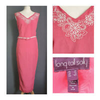 Stunning Long Tall Sally dress pink embroidered linen blend fitted UK 16 LTS