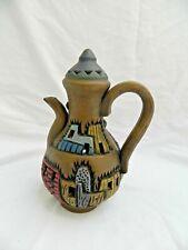 "Egyptian Real Life Clay Decoration HandMade Village Palm Tree Tea Pot 8.5"" X 4"""