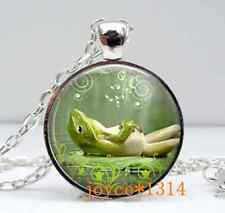 Vintage Lazy frog Cabochon Tibetan silver Glass Chain Pendant Necklace #427