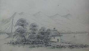"FREDERICK BENNETT BRITISH PENCIL ""AUSTRIAN HOUSE BY A LAKE"" 1872"
