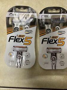 Lot of 2 BIC Flex 5 Mens Disposable Razors Shavers 4 Total Razors