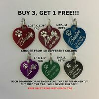 Custom Engraved Paw Print Heart Pet Tag Dog Cat ID  (Choose from 10 Colors)