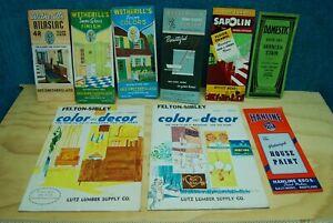9pc Vintage Paint Sample Brochures Wetherill's Atlas Lutz Lumber catalog 1937-60