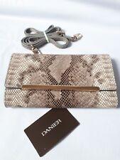 Danier Genuine Leather Womens Clutch Crossbody Embossed Snakeskin Flap  Handbag