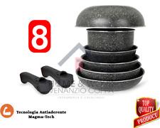 Set Pentole Batteria 8p di Pentole Casseruole Bistecchiere wok manico removibile