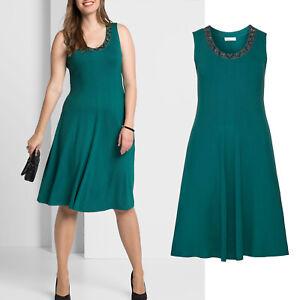 wow elegant Gr.50/52 Jerseykleid Kleid Shirtkleid smaragd grün Perlchen Abend