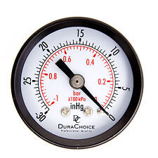 "1-1/2"" Dry Utility Vacuum Pressure Gauge Blk.Steel 1/8"" Center Back, -30HG/0PSI"
