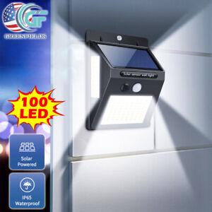 100 LED Outdoor Solar Light PIR Motion Sensor Wall Lamp Waterproof Garden Yard