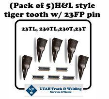 (Set of 5) Backhoe / Skid Bucket Teeth with pins 23Tl, 230Tl, 230T, 23T