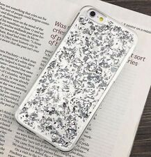 For iPhone 7 / 8 - Clear Rubber Silicone Case Cover Sparkling SILVER Foil Bling