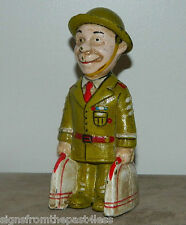 """6"""" Smiling Soldier Penny Dime Cast Iron Standing Bank"""