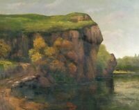 Rocky Cliffs Gustave Courbet Landscape Art Painting Print on Canvas Giclee Small