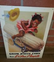 Grow White Corn Black Americana Metal Advertising Sign