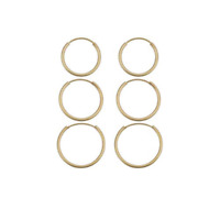 14K Yellow Gold 3 Pack Women's Endless Hoop Earrings - 1x12MM, 1x14MM, 1x16MM