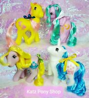 HQG1C Vintage G1 MLP Style Custom 💜 FULL SET 💜4 Glow in Dark Date Night Ponies
