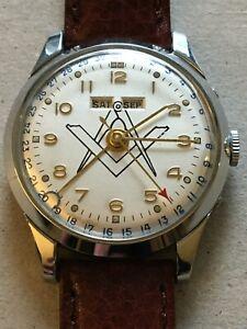 Original's Vintage 60`s Freemason Masonic wristwatch Swiss made