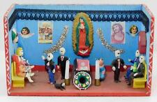 "Mexico Retablo ""Day of the Dead""  Funeral Gathering Hand Painted Clay Figures"