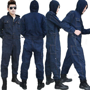 Mens Denim Workwear Mechanic Womens Jumpsuit Protective Jeans Overalls Coveralls