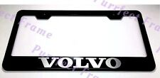 """VOLVO"" LASER Style Black Stainless Steel License Plate Frame W/ Bolt Caps"