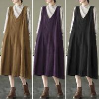 UK Women Corduroy Sleeveless Strappy Casual Loose Pinafore V Neck Dress Plus