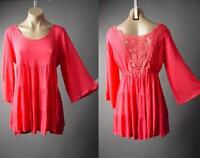 Bright Coral Crochet Back Tiered Babydoll Peasant Boho Top 149 mv Tunic S M L XL