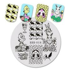 Nail Art Stamping Plate Image Decoration Easter Bunny Rabbits Eggs Chicks BBB018