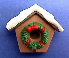 BUY1&GET1@50%~Hallmark PIN Christmas BIRDHOUSE w WREATH Snow Capped Vtg Brooch