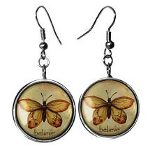 Vintage Believe Faith Butterfly Sterling Silver Good Luck Glass Earrings