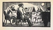 WOOD CUTS: Symphony Performance & Musical Instruments 1920 by SIMEON