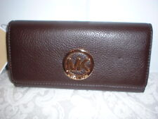 NWT Michael Kors Fulton Leather Carryall Wallet Clutch Coffee