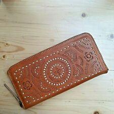 Cowhide Genuine Leather / Women's Ladies / Mandala / Zipper Wallet / Dark Brown