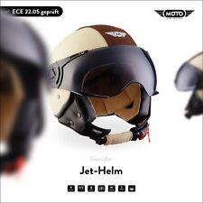 DEMI-JET CASCO SCOOTER PILOT PELLE INTEGRALE MOTO Helmet H44 Vint. C XS S M L XL