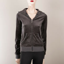JUICY COUTURE Sweatshirt S 34 36 Grau Kapuze Samt Hoody Training Jacke Krone
