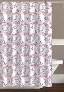 Pink White Fabric Shower Curtain: Country Floral Butterfly Bless Design