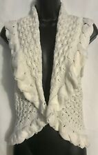 Women's Large Almost Famous Off-White Sleeveless Cardigan