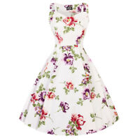 Hearts & Roses London Off White Floral Vintage Retro 1950s Flared Swing Dress