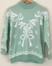 Vintage Fairy Kei Kawaii 80s Sweater Floral Bows Teal Mint Knit Acrylic-M/L