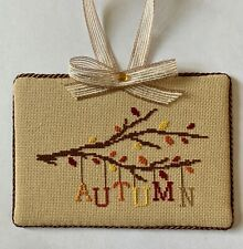 """Completed Cross Stitch """"Autumn"""" Ornament/ Wall Hang"""