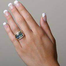 18K Gold Ring/Insert Blue Topaz and Diamonds