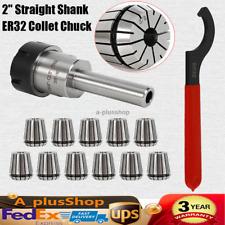 34 Er32 Collet Chuck Straight Shank With 11 Pcs Collets Set Er32 Spanner