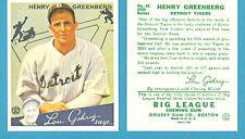 1934 Goudey Reprint #62 (Hank) Henry Greenberg Card - Detoit Tigers