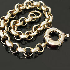 "7mm BELCHER LINK 14K GOLD EP 18"" Necklace + Bolt Ring Clasp Ladies Jewellery"