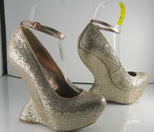 """new Gold 6.5""""High Wedge Heel LESS 2""""Platform Ankle Strap Sexy Shoes Size 6"""