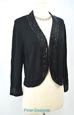 CWC Coldwater Creek fine knit Cardigan Sweater crop top bolero sequin SIZE M NEW
