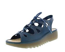 Fly London NEW Exon blue genuine leather low wedge heel lace up sandals size 3-9